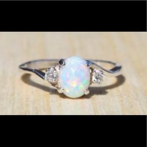 Jewelry - White fire opal 925 women's ring